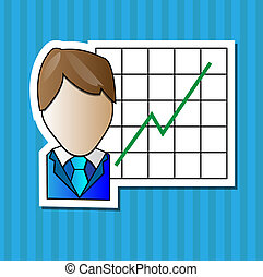 Business man with positive graph