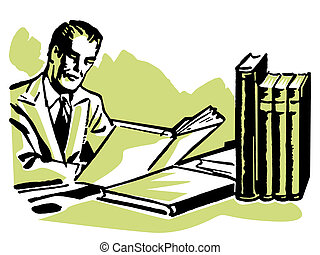 A graphic illustration of a business man working hard at his...