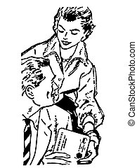 A black and white version of a woman handing a parcel to her...