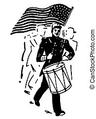 A black and white version of a drummer and American flag