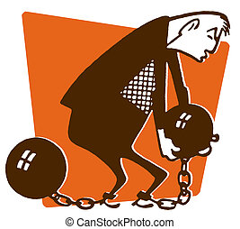 An illustration of a man carrying a ball and chain