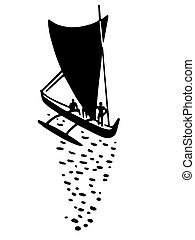A black and white version of an illustration of a sail boat