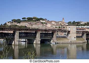ancient Tuscan village on the River