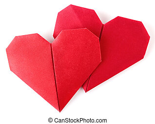 pair valentine origami isolated on white background