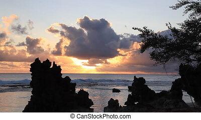 Tikehau - Sunset at Tikehau Lagoon in French Polynesia...