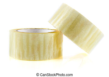 two hank sticky tape isolated on white background
