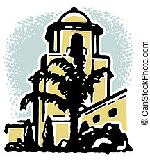 An illustration of a stone building with a large palm tree in the foreground