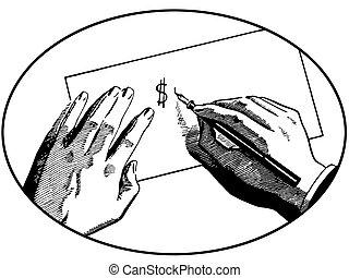 símbolo, Manos, dólar, dos, Ilustración, escritura, versión,...