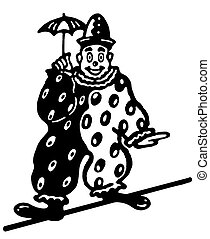 A black and white version of an illustration of a clown...