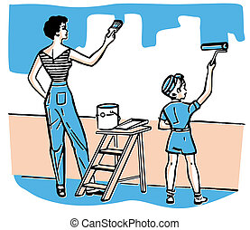 A mother and child painting walls together