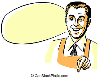 A man wearing a shirt an tie and an apron with an empty...