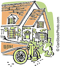 An illustration of a home with an old fashioned car in the foreground