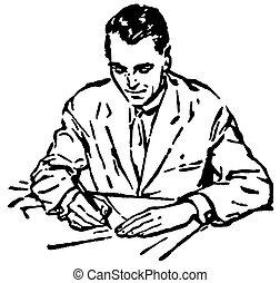 A black and white version of a man writing at a desk