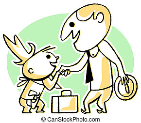 A cartoon style drawing of a business man greeting a small...