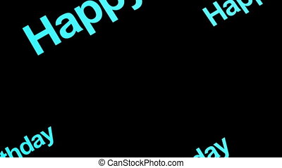 Blue Happy Birthday Text Non Looping