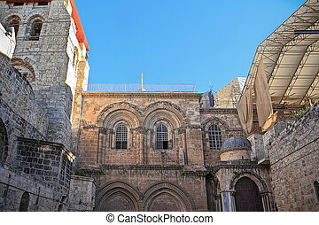 Facade of the Church of the Holy Sepulchre in Jerusalem