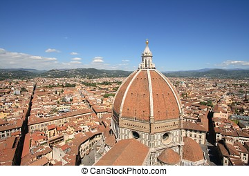 View of the Duomo and the city of Florence, in the Italian...