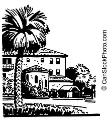 A black and white version of an illustration of a large home...