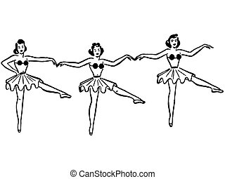 A black and white version of three ballerinas dancing in a row