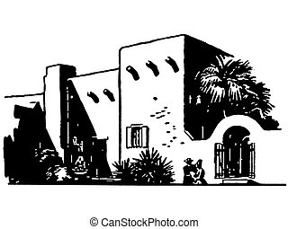 A black and white version of a Mexican inspired building