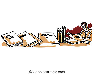 A man being almost lost in a desk of books