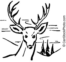 A black and white version of an illustration of a deer with...
