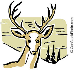 An illustration of a deer with pine trees and rolling hills...