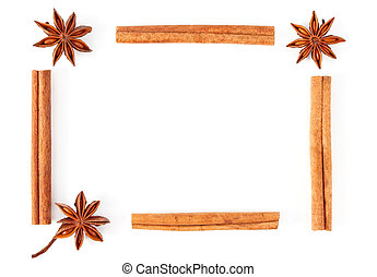 frame of truestar anisetree and cinnamon isolated on white...