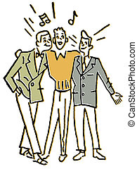 A group of three men singing together