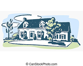 An illustration of a suburban home