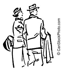 A black and white version of a vintage illustration of a traveling couple