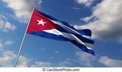 Cuban flag waving against time-lapse clouds background