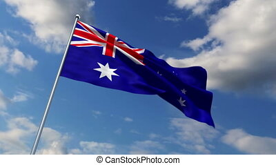 Australian flag waving against time-lapse clouds background
