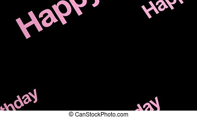 Happy Birthday Text in Pink Non Looping