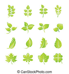 Set of green leaf icons - Set of vector green leaf icons