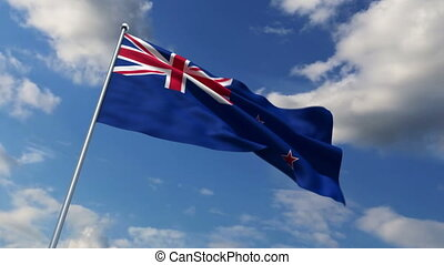 New Zealand flag waving against time-lapse clouds background