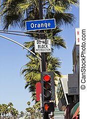 street sign Orange Drive  in Hollywood