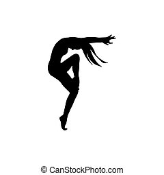 black silhouette of  young beautiful girl