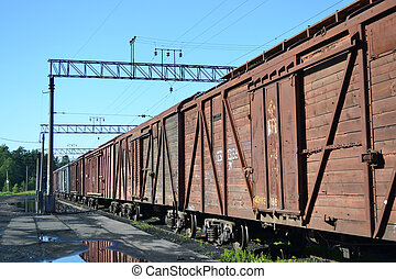 Cargo train - Perspective of the cargo train consisting of...
