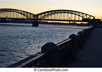 Neva river and Finnish railway bridge at sunset - View of...