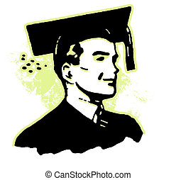 Retro image of a young man dressed in graduation attire
