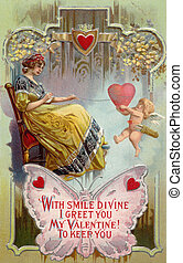 A vintage Valentines Day card with a woman pulling in a...