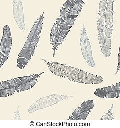 Feather seamless background - Vintage Feather seamless...