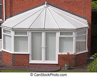 conservatory - white brick and upvc conservatory at rear of...