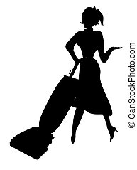 1950s vacuum silouette - Happy housewife with her new 1950s...