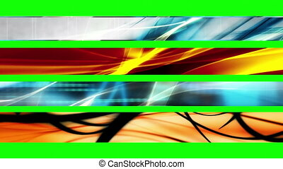 Lower Thirds Green Screen A44 - Four Looping Abstract Green...