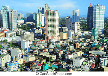 Makati city - Aerial view on Makati - is one of the 17...