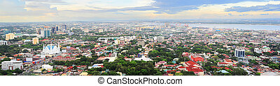 Metro Cebu at sunset - Panorama of Cebu city Cebu is the...