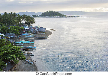 Fisherman village - Aerial view on traditional Philippines...
