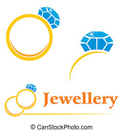 Rings with diamond - Set of concepts symbols for expensive...